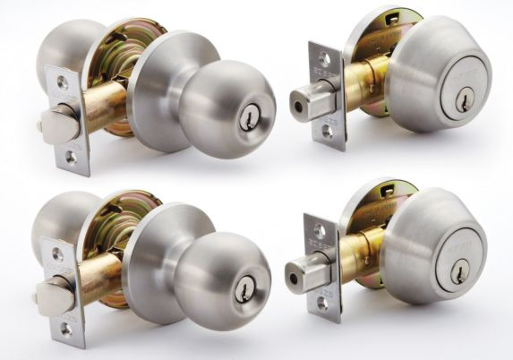 EZ Set Entry Twin Door Knob & Deadbolt Lock Combo Product image
