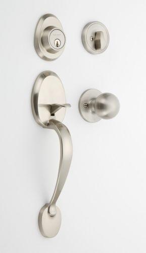 EZ Set Ball Door Knob & Grip Door Lever Combo, Satin Nickel Product image
