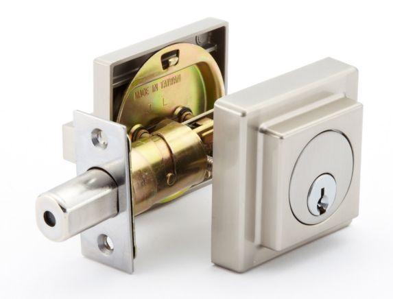 Garrison Contemporary Deadbolt Door Lock, Satin Nickel Product image