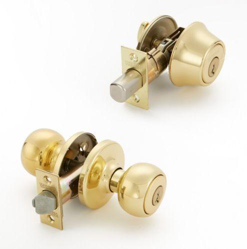 Weiser Fairfax Round Door Knob Combo, Polished Brass Product image