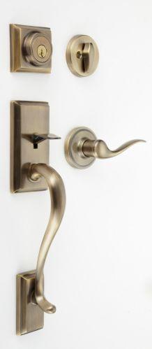 Weiser Hawthorne Grip Set Door Handle & Toluca Door Lever, Antique Brass Finish Product image