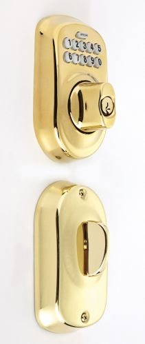 Schlage Plymouth Escutcheon Keypad Deadbolt Door Lock, Bright Brass Product image