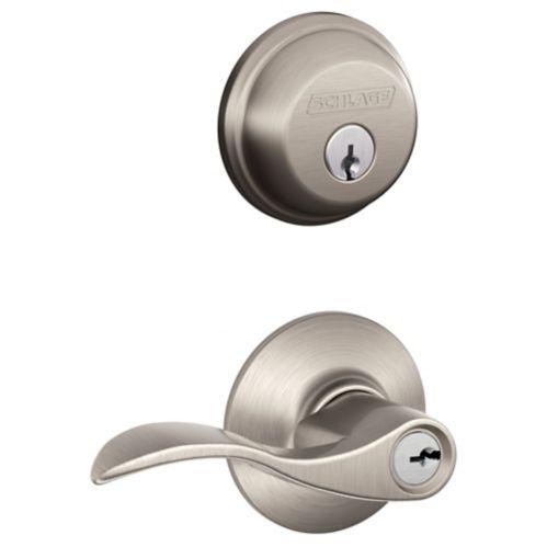 Schlage Accent Lock and Door Knob Combo, Satin Nickel