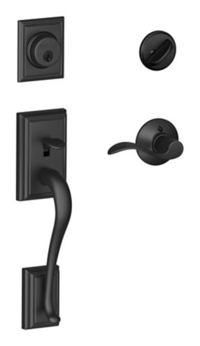 Schlage Addison Handle Set with Accent Lever, Matte Black Product image
