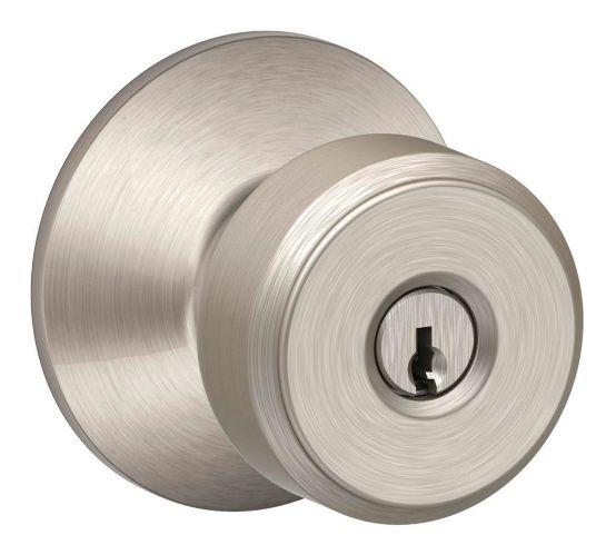 Poignée de porte à serrure complète avec clé Schlage Bowery Keyed, nickel satiné