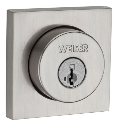 Weiser Square Single Cylinder Deadbolt, Satin Nickel Product image