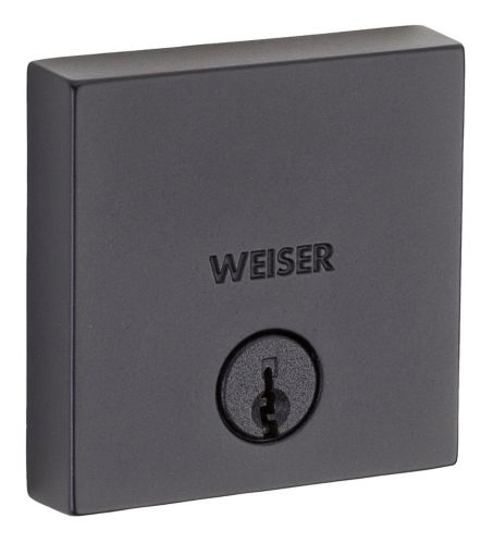 Weiser Downtown Square Single Cylinder Deadbolt, Iron/Black Product image