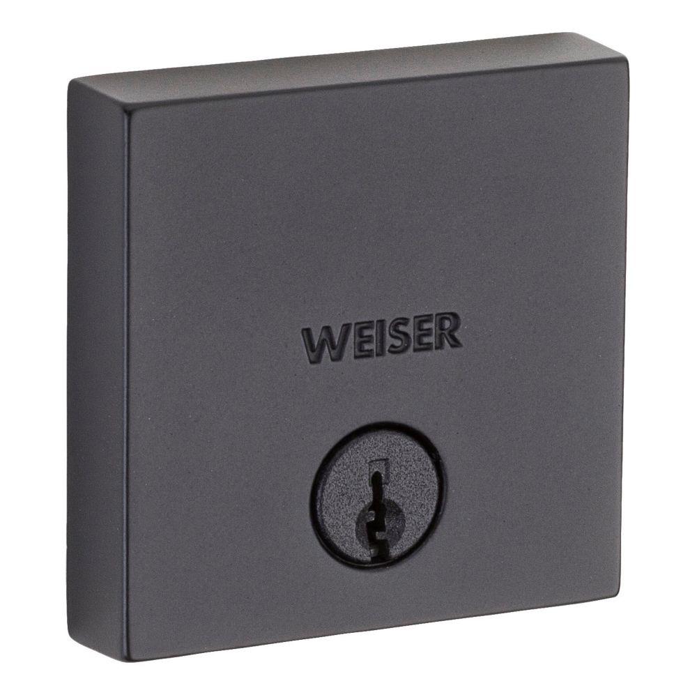 Weiser Downtown Square Single Cylinder Deadbolt, Iron/Black
