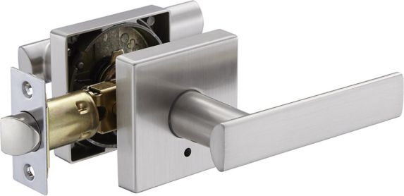 Garrison Contemporary Square Rose Lever, Privacy, Satin Nickel Product image