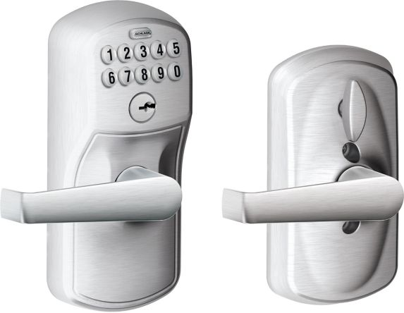 Schlage Electronic Keypad Lever, Plymouth/Elan Lever, Satin Chrome