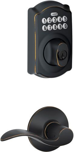 Schlage Electronic Keypad Deadbolt, Camelot/Accent Lever, Bronze Product image