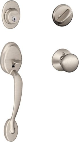 Schlage Front Entry Handle Set, Plymouth, Satin Nickel