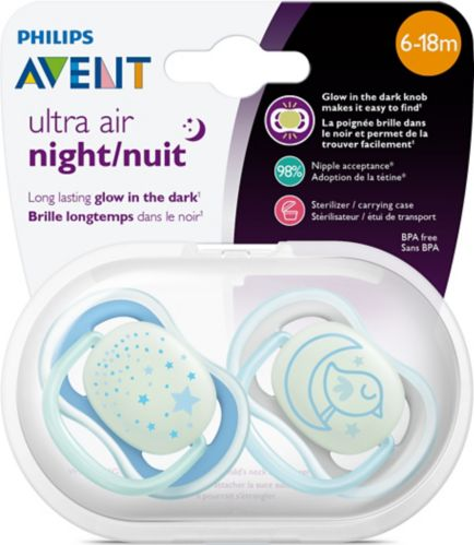 Philips Avent Night Time Baby Pacifier, Medium, 2-pk Product image