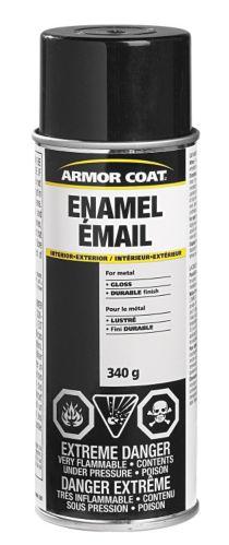 Armor Coat Enamel Spray Paint, Gloss Black, 340-g