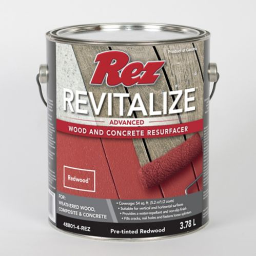 Rez Revitalize Advanced Wood & Concrete Resurfacer, Redwood, 3.78-L