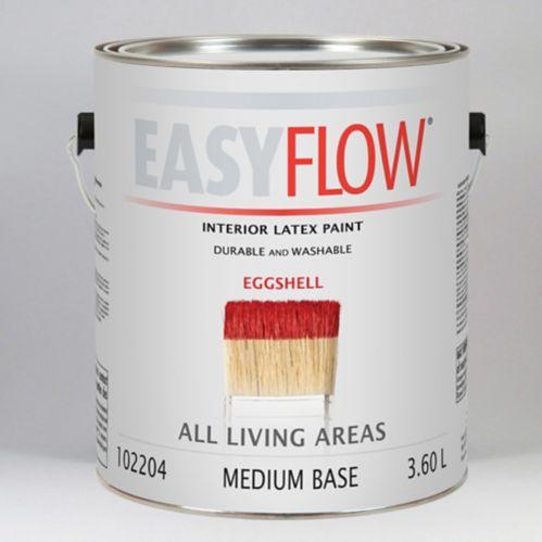 Peinture latex d'intérieur Easyflow, varié, coquille d'œuf, base moyenne, 3,7 L