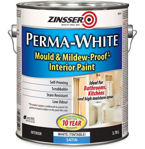 Zinsser Mould & Mildew Interior Latex Paint, Satin, 3.7-L Product image