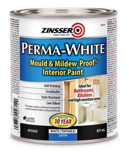 Peinture anti-moisissure au latex Zinsser, intérieur, satin, 931 ml Image de l'article