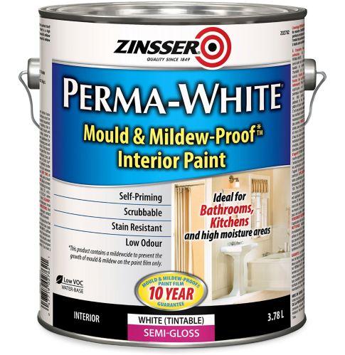 Zinsser Mould & Mildew Interior Latex Paint, Semi-Gloss, 3.7-L