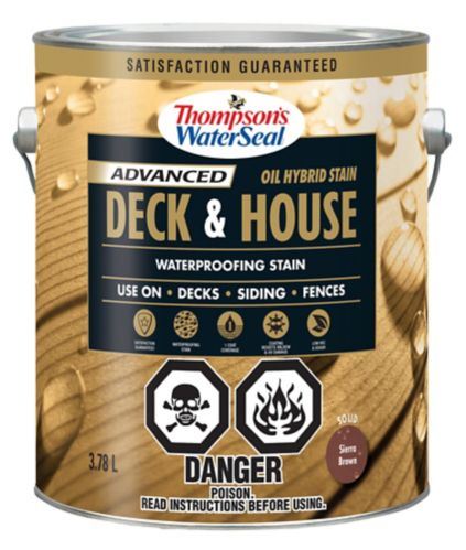 Thompson's WaterSeal Deck & House Waterproofing Stain, Pre-Mixed Oil Hybrid Solid, 3.54-L