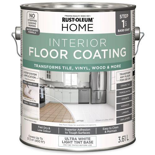 Couche de base pour revêtement de plancher intérieur Rust-Oleum HOME base de teinture, blanc, 3,61L Image de l'article