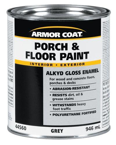 Armor Coat Interior/Exterior Alkyd Porch & Floor Paint, Grey, 946-mL