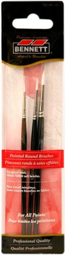Bennett Professional Artist Pointed Round Tip Brushes, 3-pk Product image