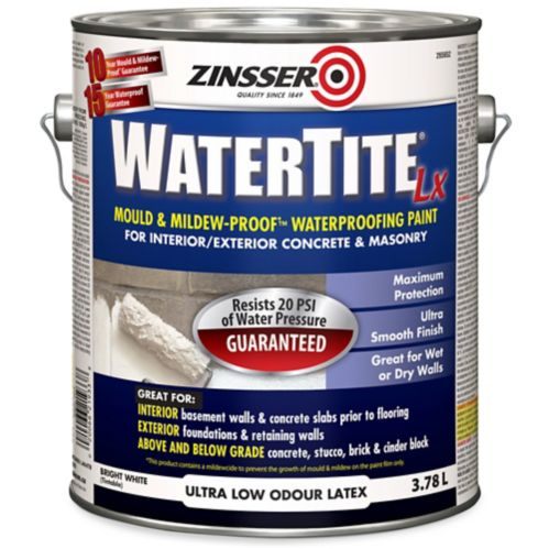 Zinsser WaterTite Waterproofing Paint, 3.78-L