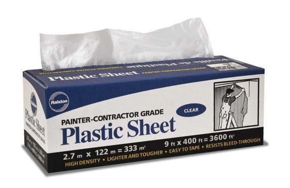 Distributeur de toile en plastique de qualité de peintre / entrepreneur, 9 x 400 pi