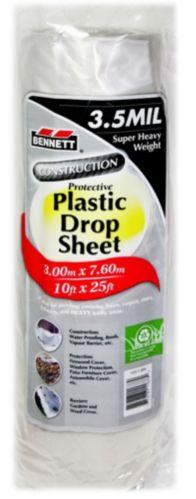 Bennett Plastic Drop Sheet, White, 10-ft x 25-ft Product image
