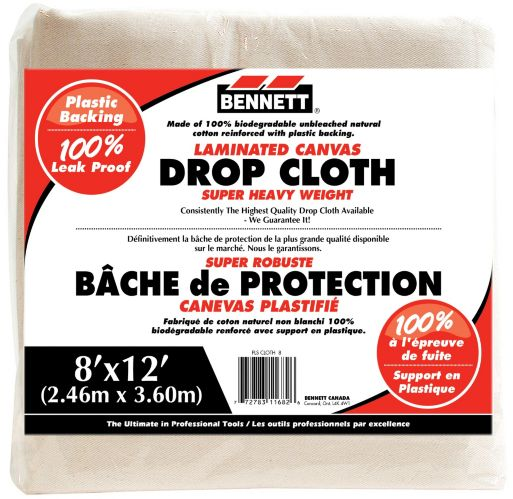 Bennett Laminated Canvas Drop Cloth, 8 x 12-ft