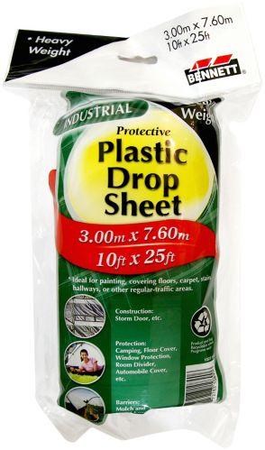 Bennett Protective Plastic Dropsheet, Heavy, 10x27-ft
