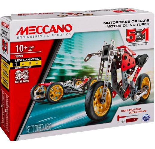 MECCANO 5-in-1 Motorbikes or Cars Building Kit