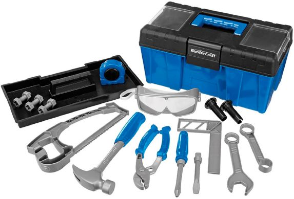Mastercraft Toy Tool Box with Accessories, 18-pc