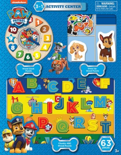 Licensed Peppa Pig & Paw Patrol 3-in-1 Wood Puzzle Activity Centre, Assorted