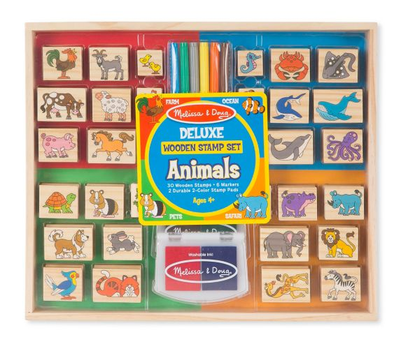 Melissa & Doug Deluxe Wooden Animal Stamp Set, 38-pc Product image