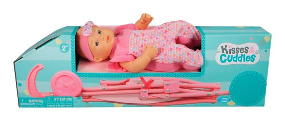 Kisses & Cuddles Baby Doll & Stroller, 12-in Product image