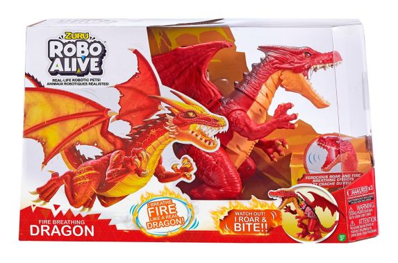 Robo Alive Fire Breathing or Ice Blasting Dragon by ZURU, Assorted
