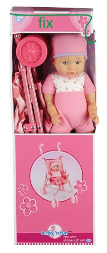 Doll with Stroller, 13-in