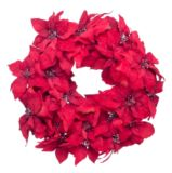 Couronne poinsettia en velours rouge, 24 po | FOR LIVINGnull
