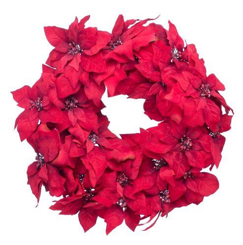 Couronne poinsettia en velours rouge, 24 po Image de l'article