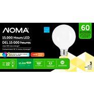 NOMA LED G25 Filament Frost 60W E26 Base Dimmable Soft White Bulb, 3-pk