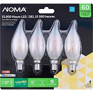 Noma LED Chandelier 60W E12 Base Flame Frost Dimmable Soft White Bulb, 4-pk