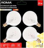 Sylvania 25W G16.5 Incandescent Globe Bulbs, Clear, 4-pk | NOMA | Canadian Tire