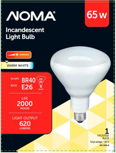 NOMA 65W R40 Incandescent Floodlight Bulb, Soft White