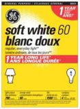 GE 60W A19 Long Life Incandescent Bulbs, Soft White, 4-pk   GE   Canadian Tire