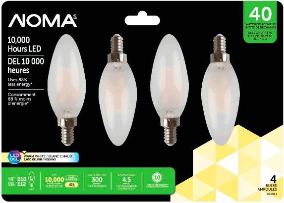 NOMA LED Candelabra 40W Light Bulbs, 4-pk