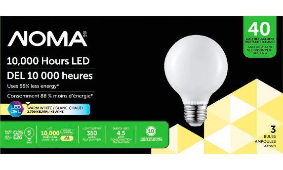 NOMA LED G25 40W Light Bulbs, 3-pk