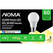 NOMA LED A19 60W Light Bulbs, Soft White, 6-pk