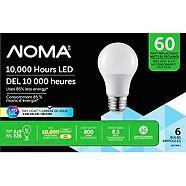 NOMA LED A19 60W Daylight Light Bulbs, 6-pk